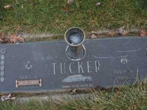 Final resting spot of automotive legend Preston Tucker and his wife, Vera.