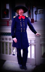 Steve Alexander as General George Armstrong Custer outside the Bacon/Custer home in Monroe, Michigan