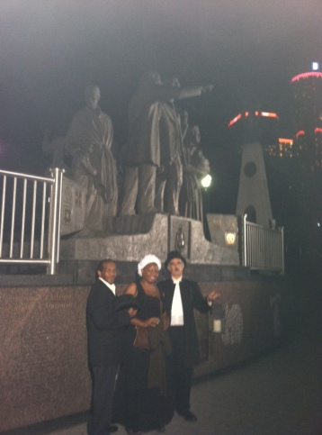 Cast members Incredible Journey to Midnight: Detroit Underground Railroad Lantern Tour (L-R) Charles Little, NaKeesha Hayes, Jim Barfuss.