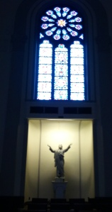 One of the gorgeous Mayer of Munich stained glass windows found in the front part of the chapel.