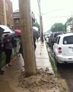 Line for Nicole Curtis's open house today snaked about 6 houses down E. Grand Blvd, then down Charlevois.