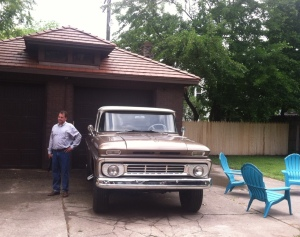 Vintage truck and garage belonging to